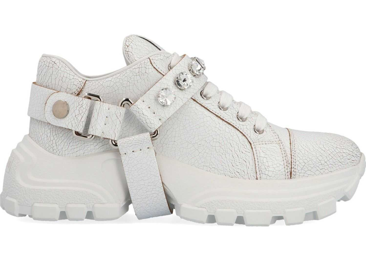 Miu Miu Leather Sneakers WHITE