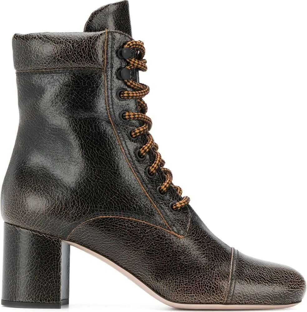 Miu Miu Leather Ankle Boots BROWN