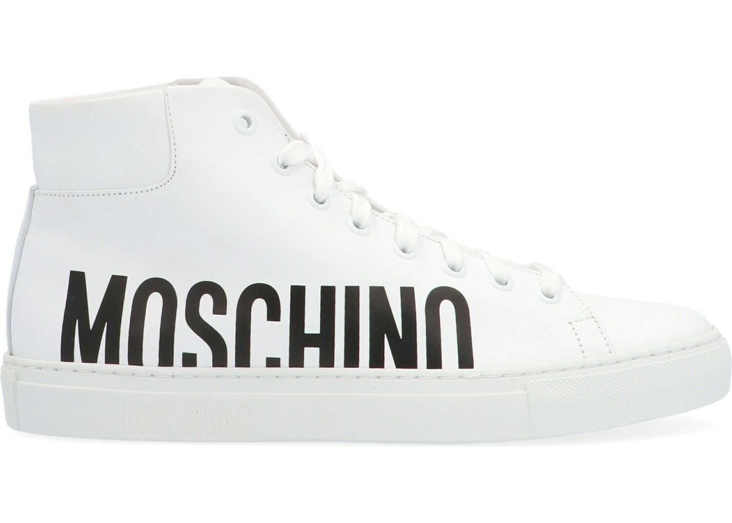 LOVE Moschino Leather Hi Top Sneakers WHITE