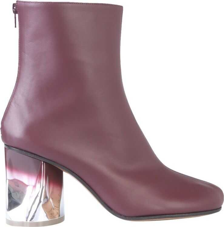 Maison Margiela Leather Ankle Boots BURGUNDY