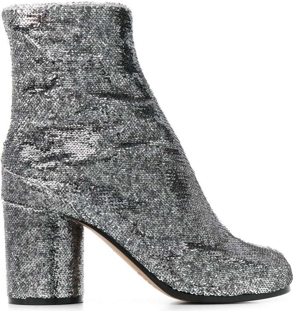 MM6 Maison Margiela Leather Ankle Boots SILVER