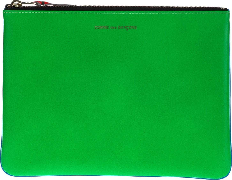 Comme des Garçons Leather Wallet BLUE/GREEN
