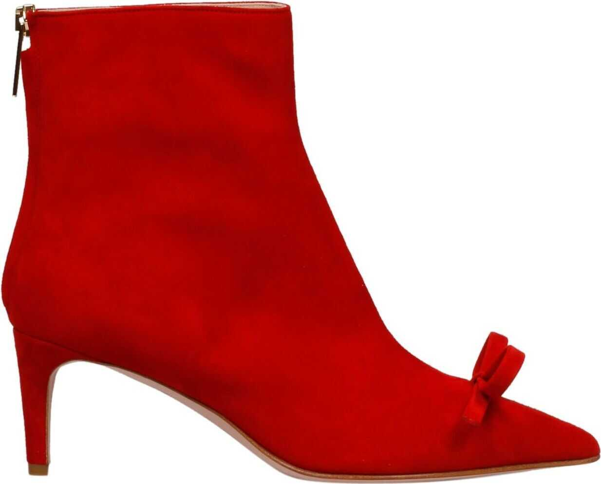 RED VALENTINO Leather Ankle Boots RED