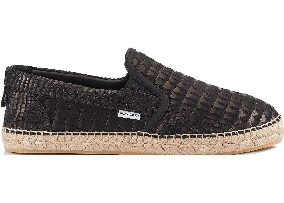 Jimmy Choo Leather Espadrilles BLACK