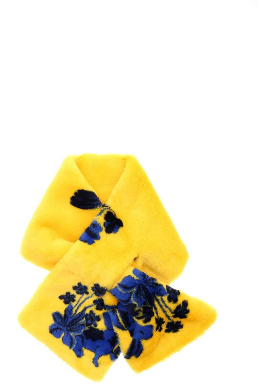 Vivetta Eco-Fur Stole In Yellow And Blue Yellow