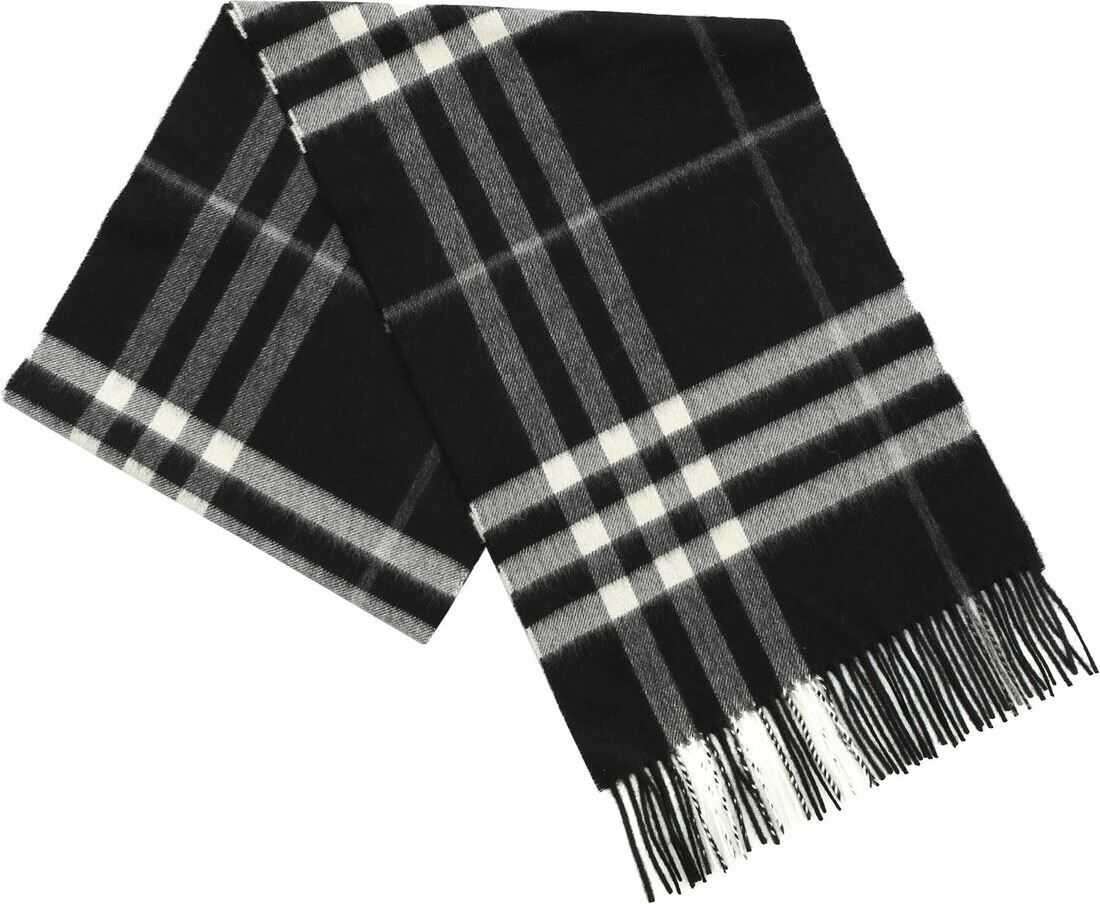 Burberry Scarf With Black Tartan Pattern Black