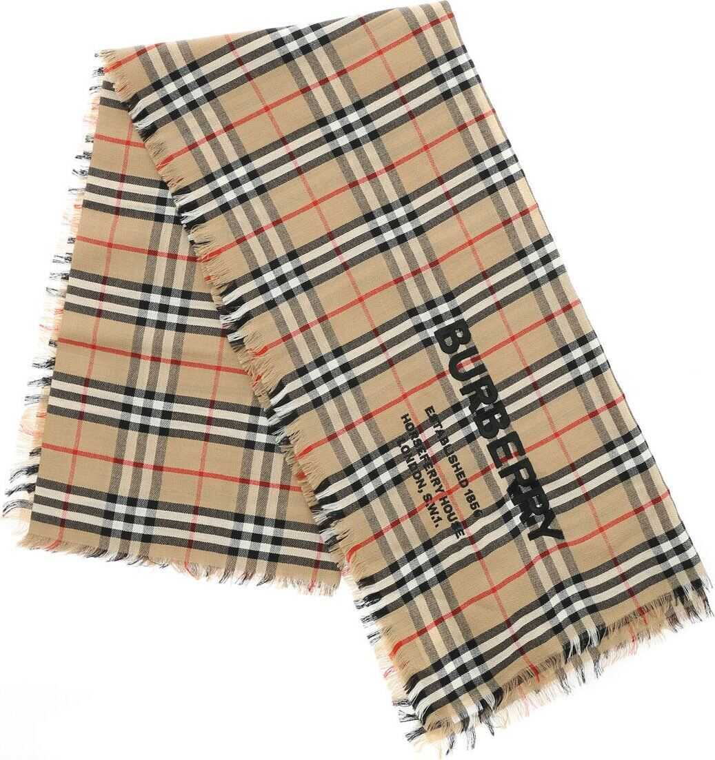 Burberry Scarf With Vintage Check Pattern Beige