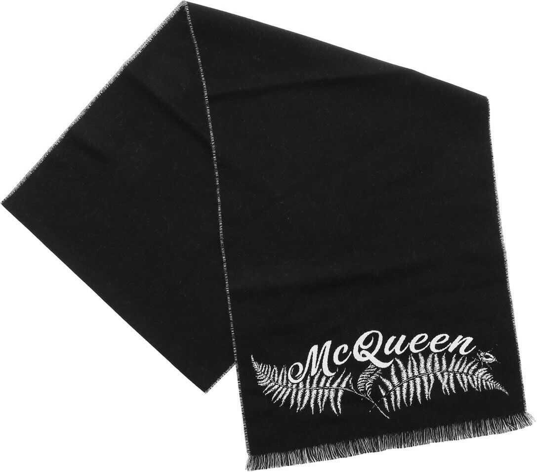 Alexander McQueen Black Scarf With Logo And Fern Embroidery Black