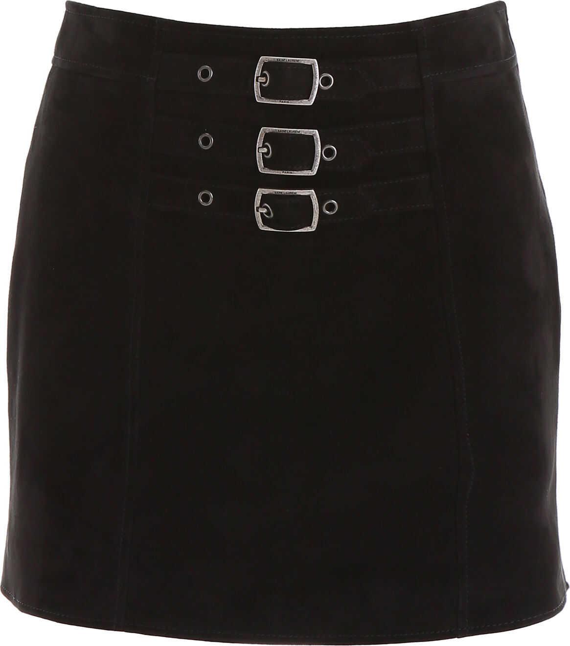Saint Laurent Suede Mini Skirt BLACK