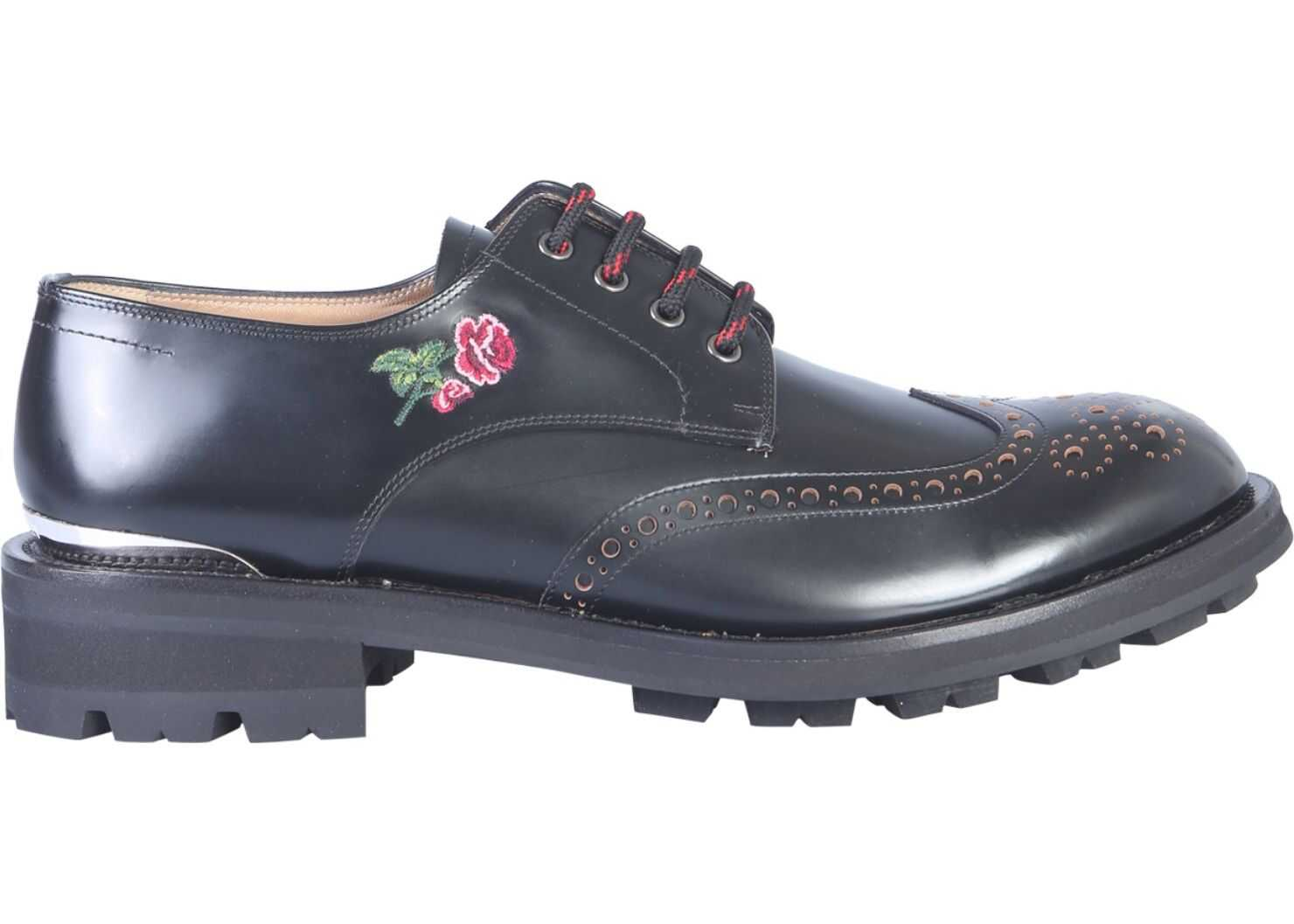 Alexander McQueen Embroidered Lace-Up BLACK