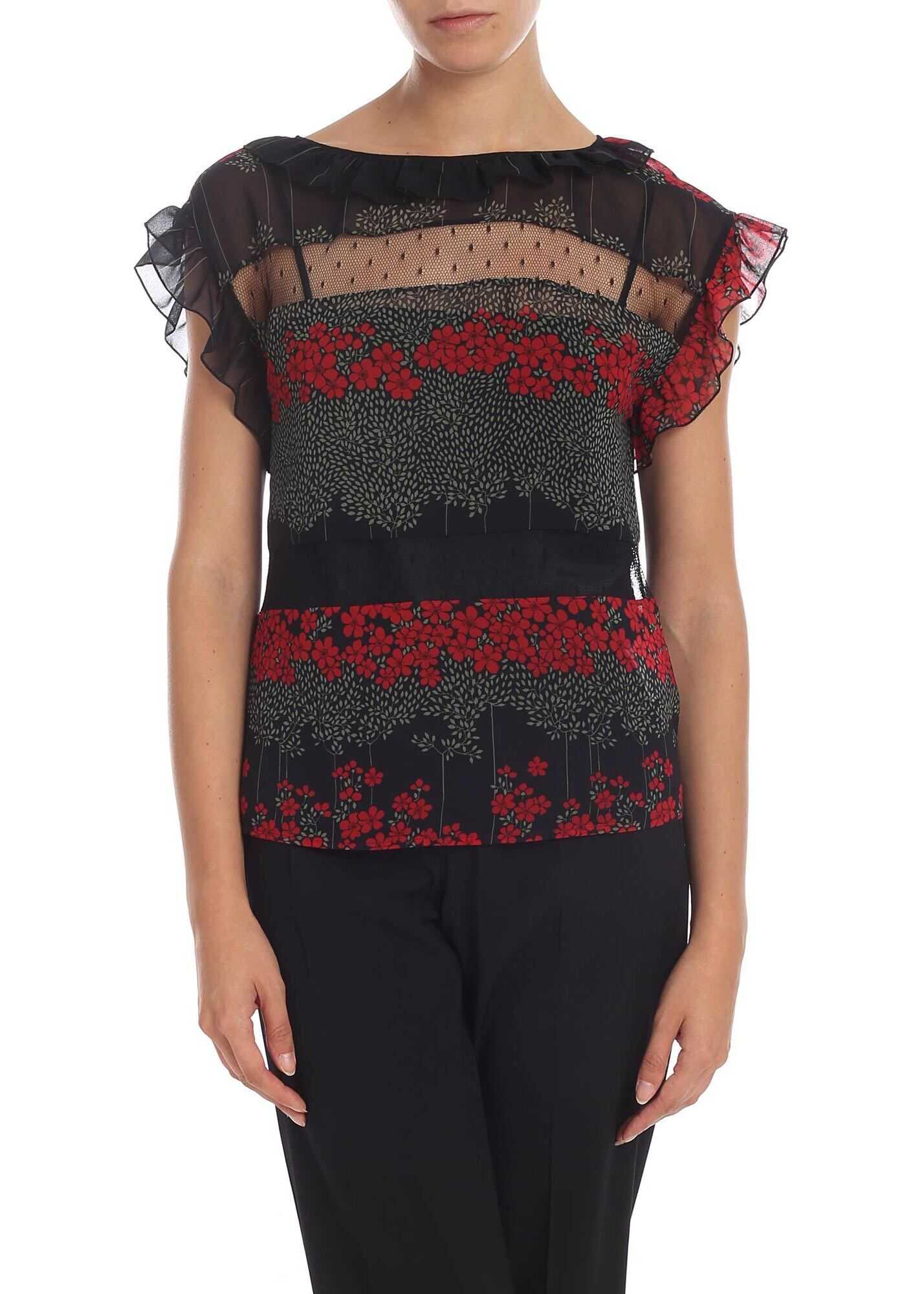 Black Top With Floral Print And Plumetis