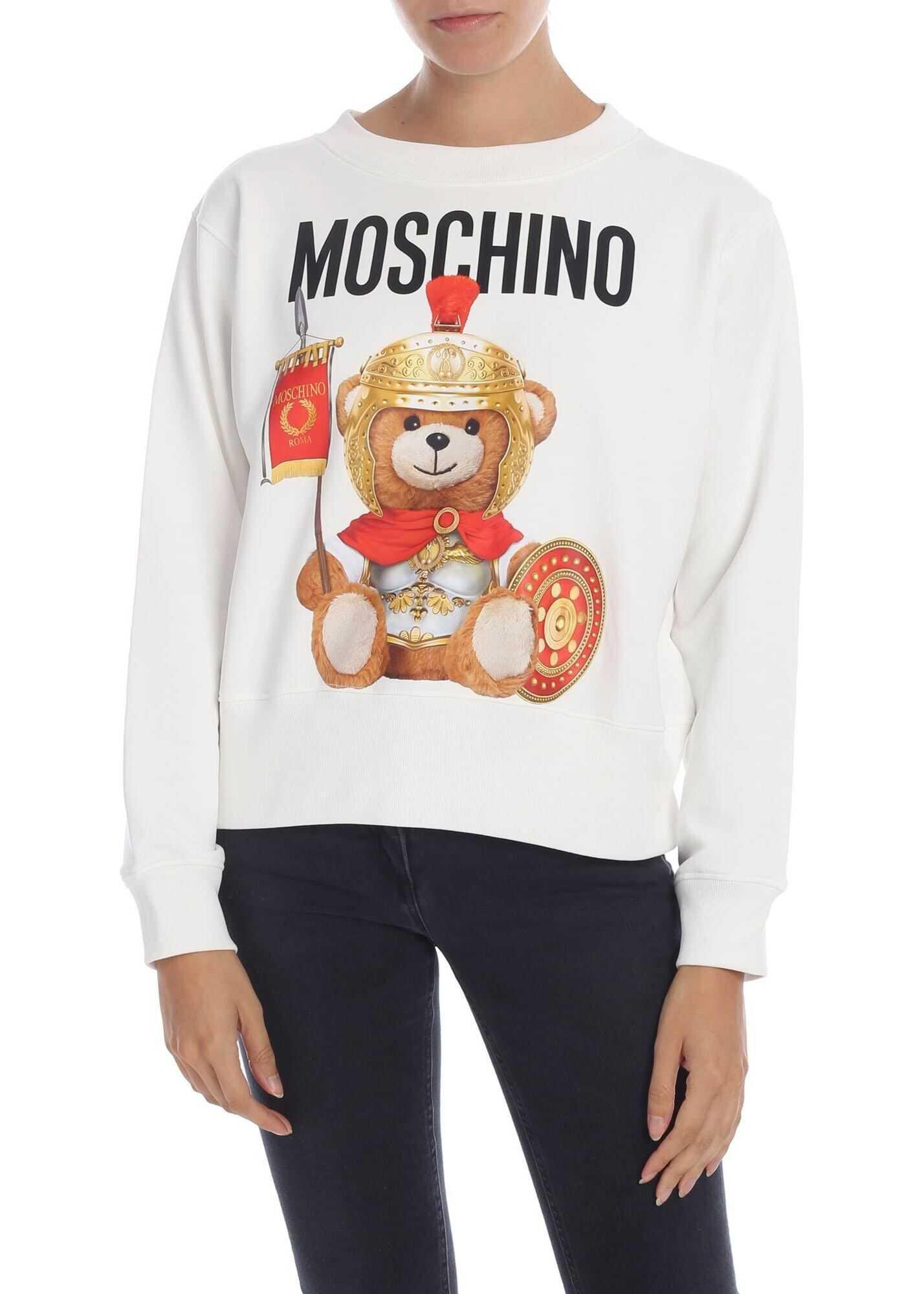 Moschino Roman Teddy Bear Sweatshirt In White White