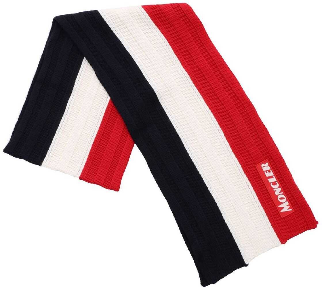 Moncler Tricolor Scarf With Logo Patch Blue