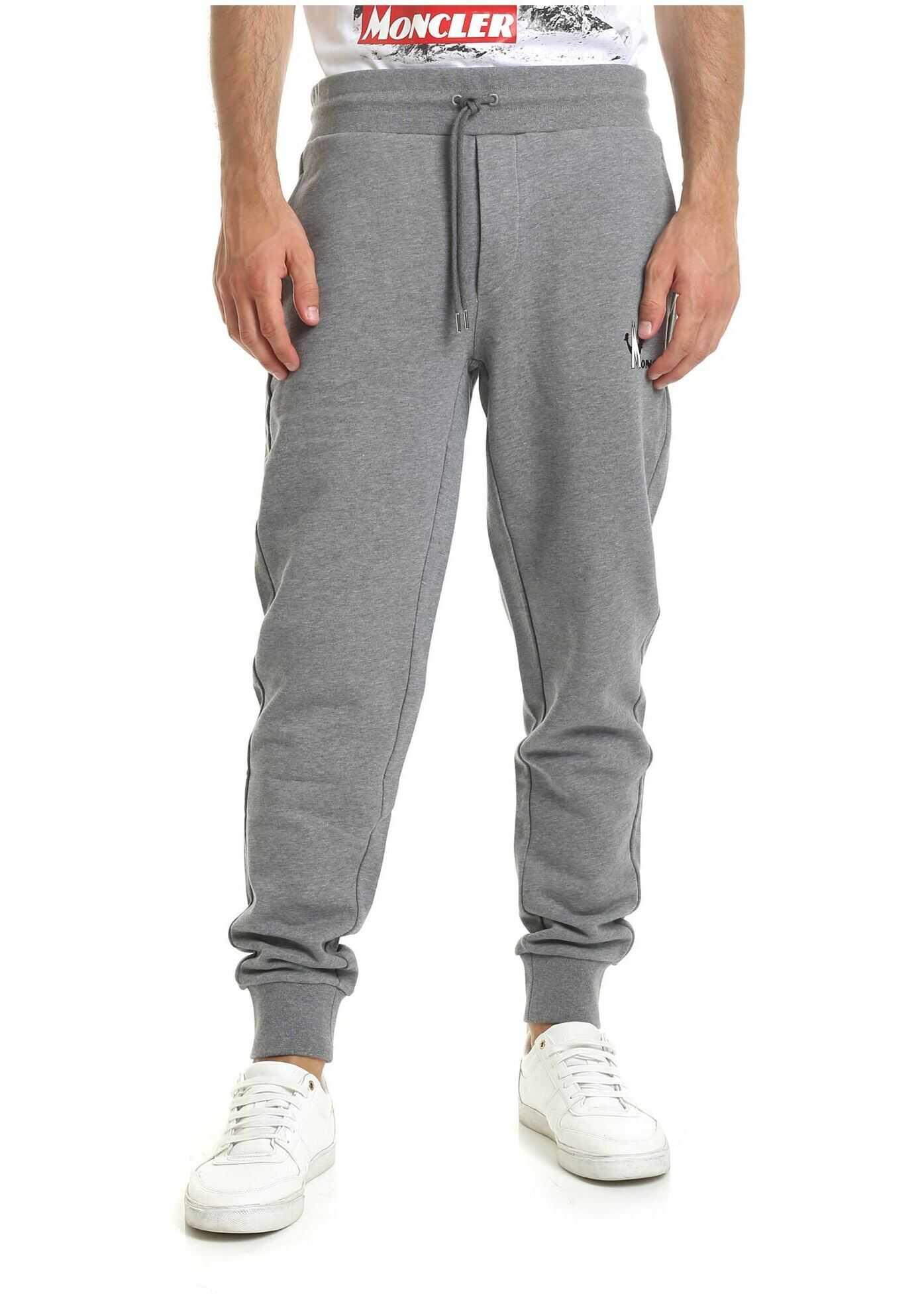 Moncler Moncler Printed Sweatpants In Grey Grey imagine