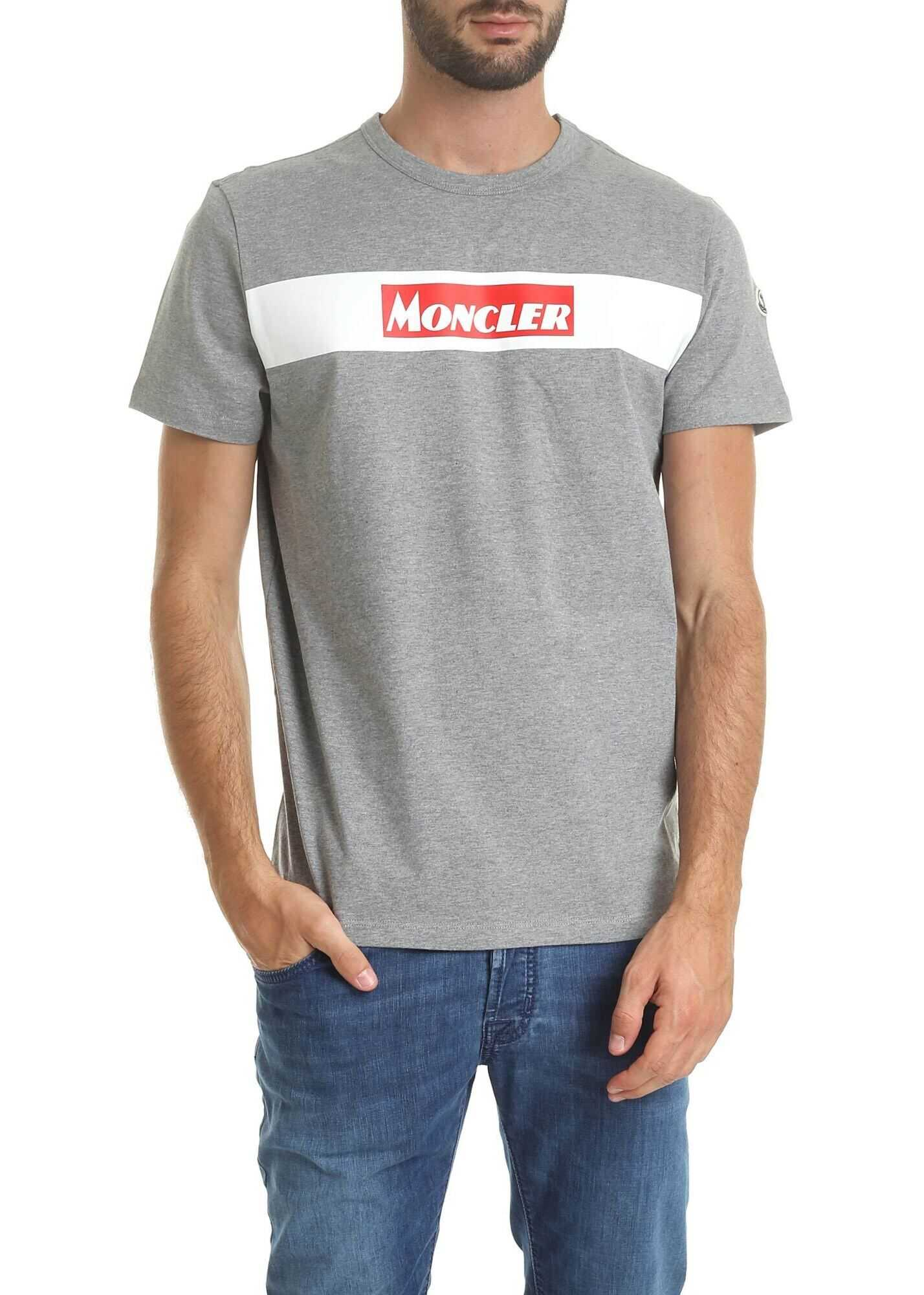 Moncler Moncler Printed T-Shirt In Grey Grey