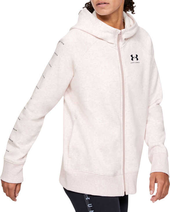 Under Armour Rival Fleece Sportstyle LC Sleeve Graphic Full Zip Pink