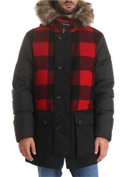 Geci Barbati Woolrich Parka Buffalo Wool In Black And Red