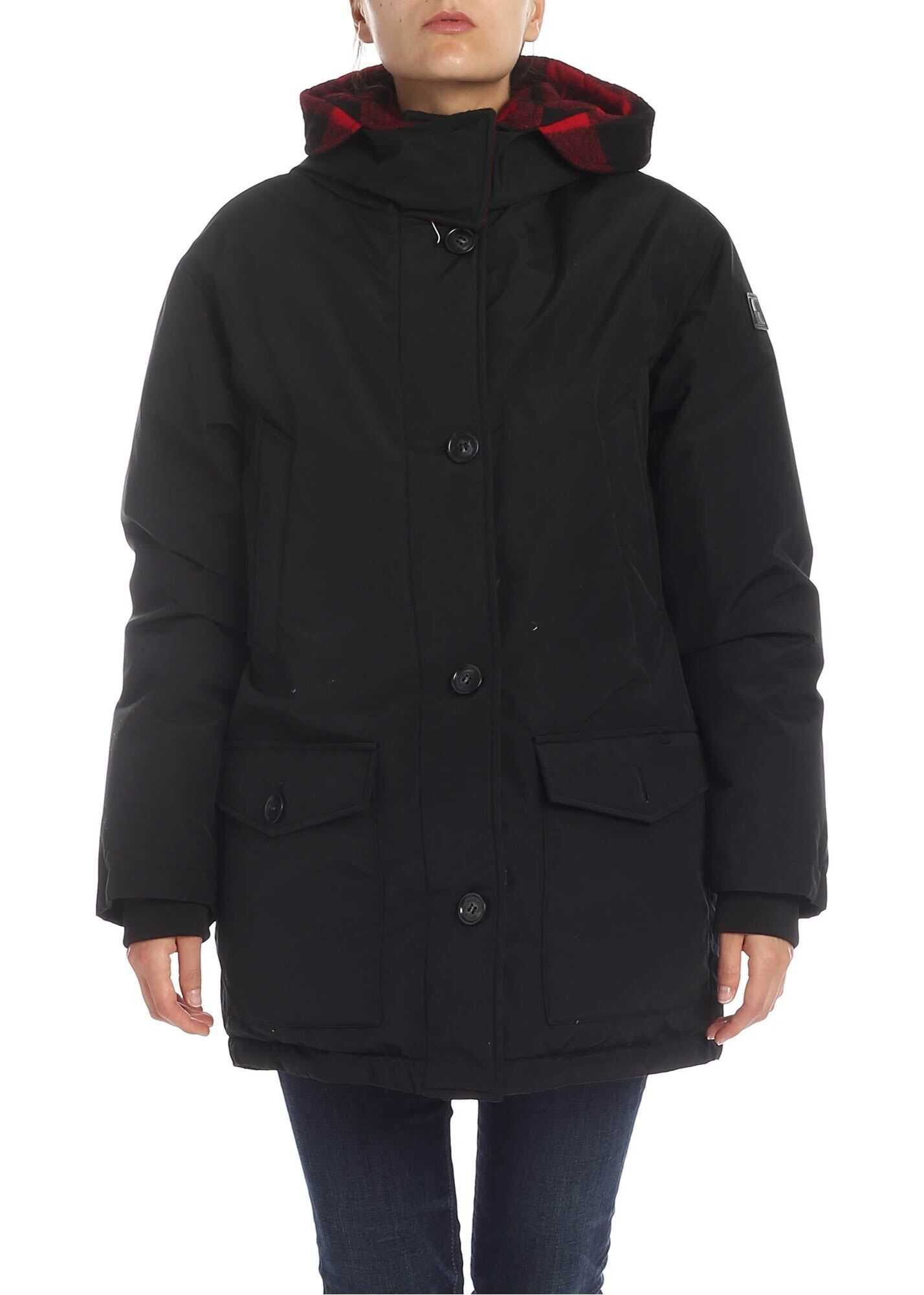 Woolrich Reversible Down Jacket With Hood In Black Black