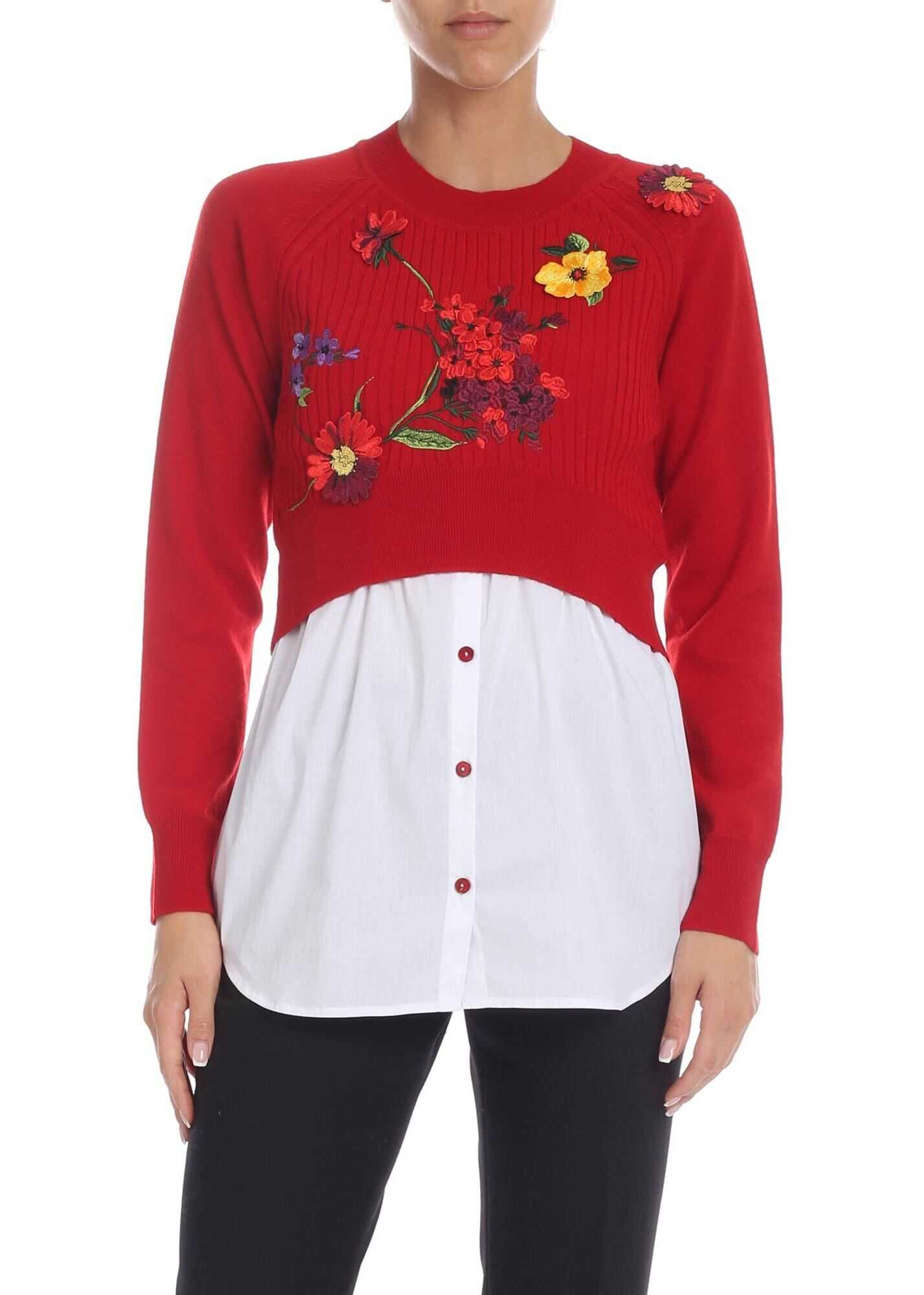 Blumarine Red Pullover With Multicolor Floral Embroidery Red