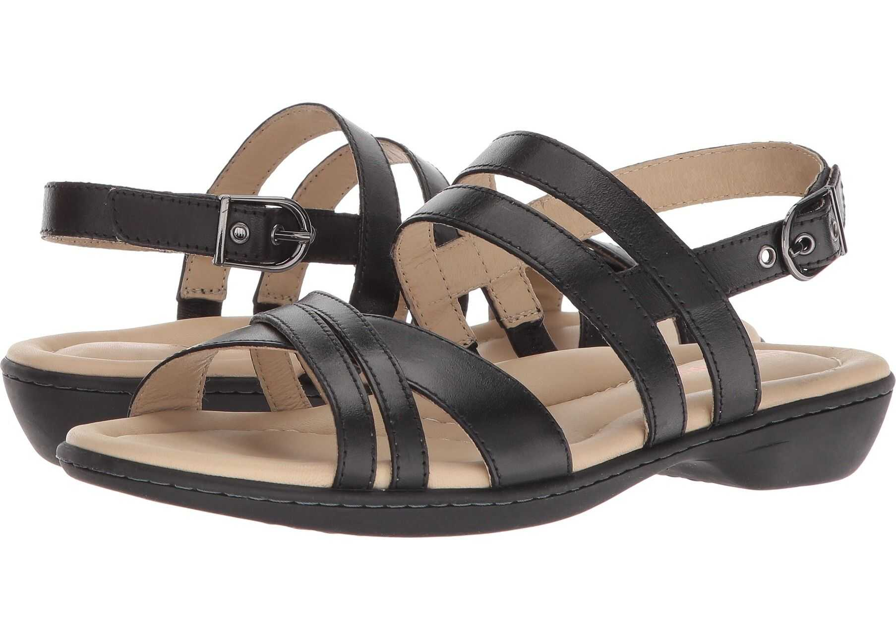 Hush Puppies Dachshund Strappy Black Leather