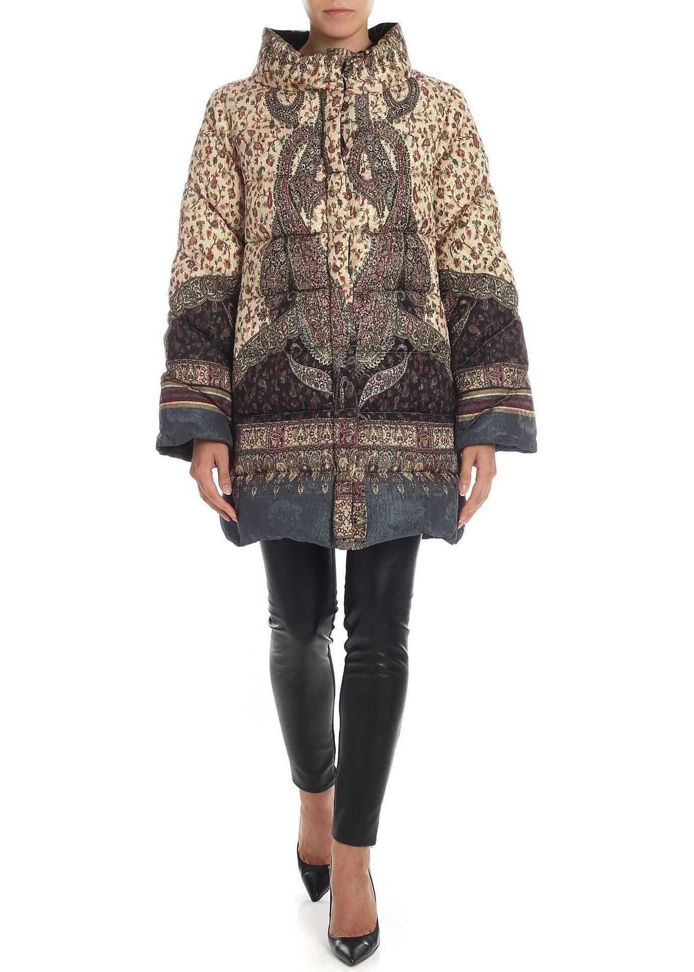 ETRO Quilted Down Jacket With Floral Pattern Multi