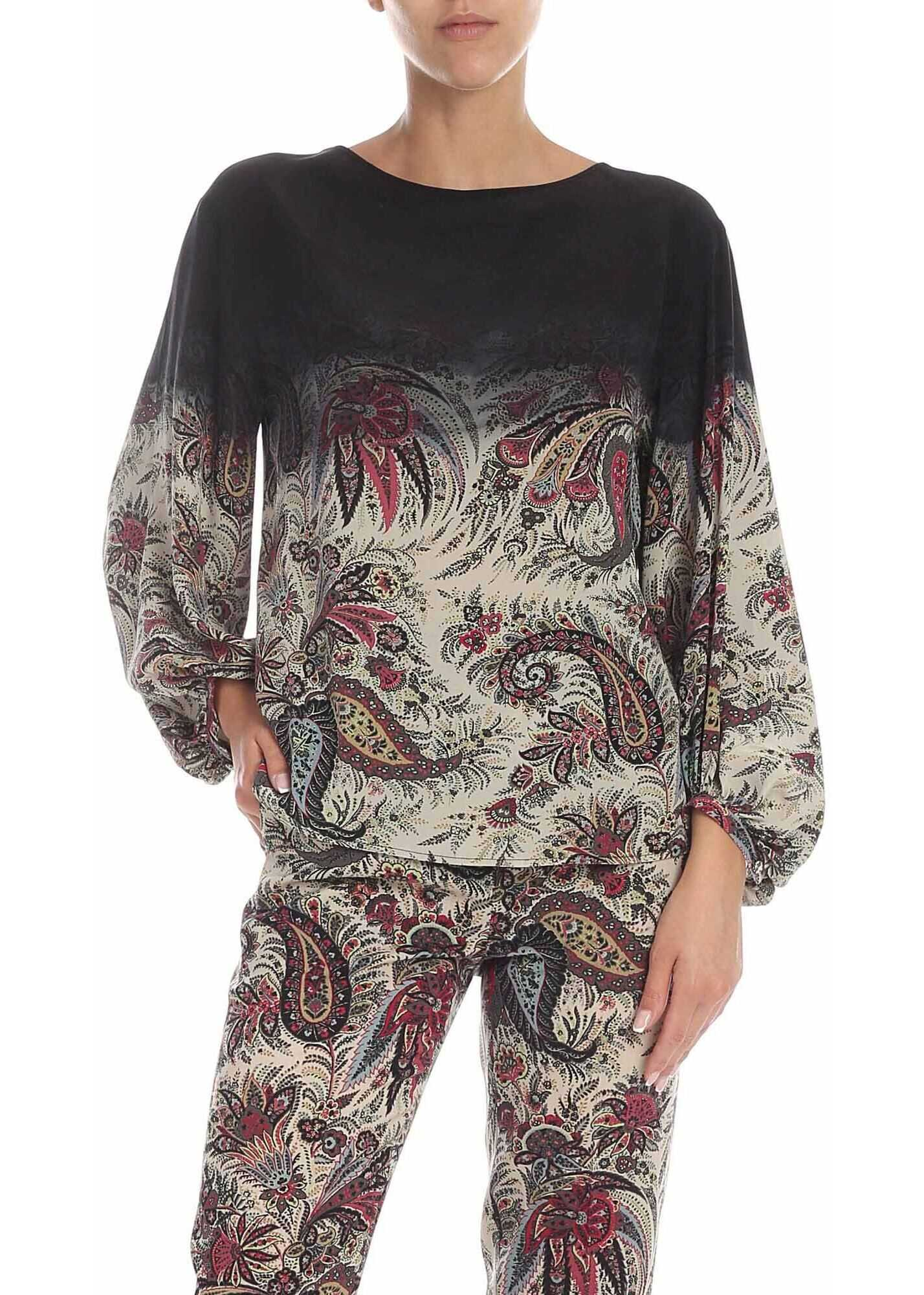 ETRO Black And Ivory Blouse With Floral Print