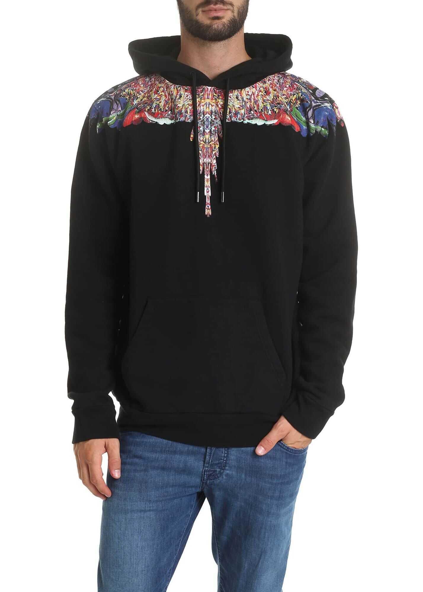 Marcelo Burlon Black Sweatshirt With Multicolor Wings Black