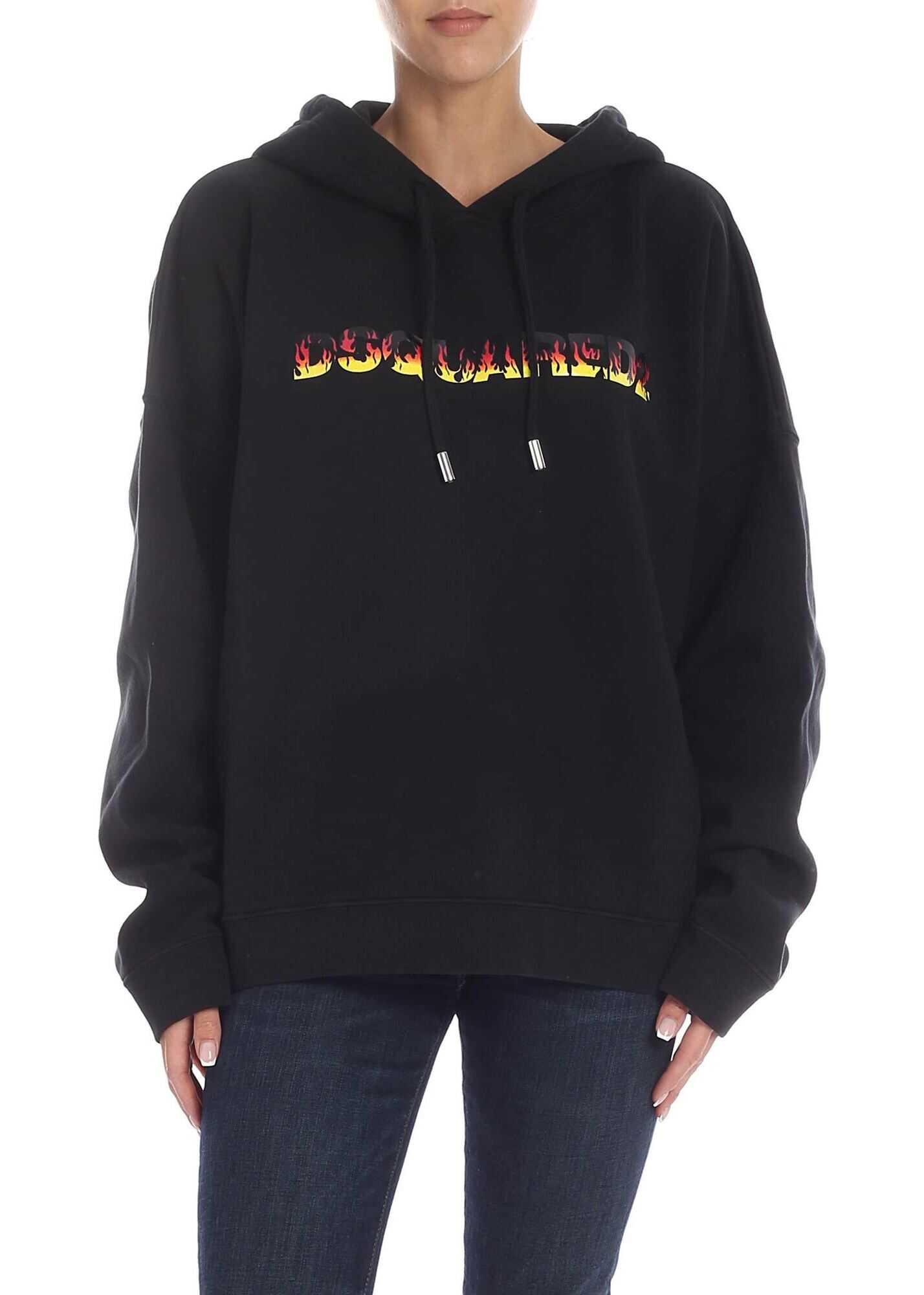 DSQUARED2 Black Sweatshirt With Logo Print Black