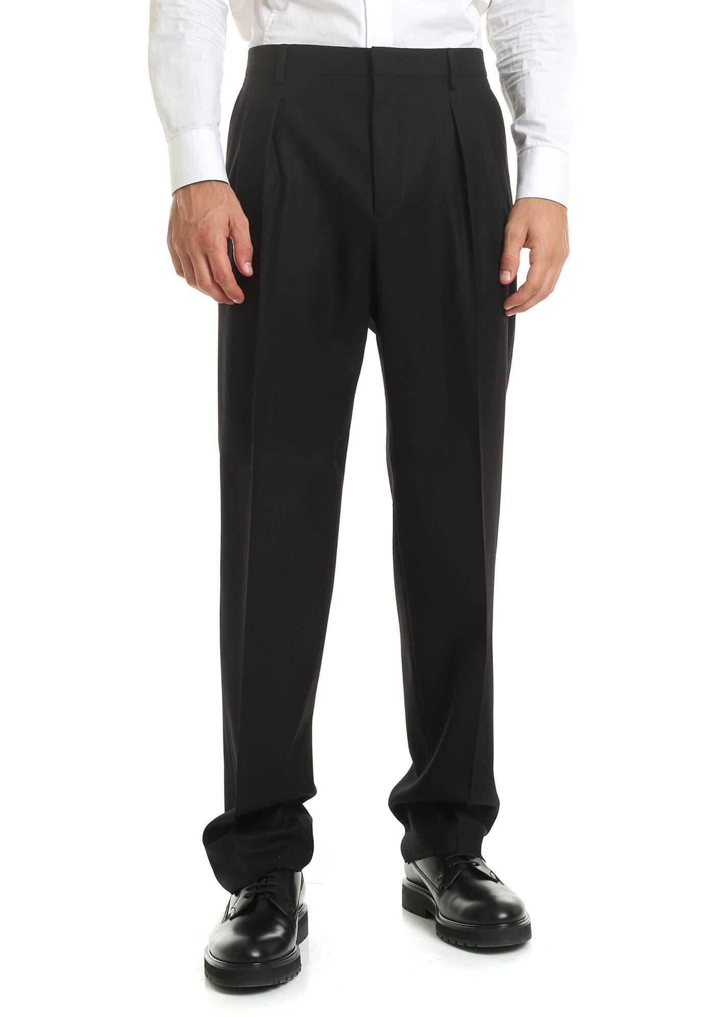 Valentino Garavani Virgin Wool Trousers In Black Black imagine