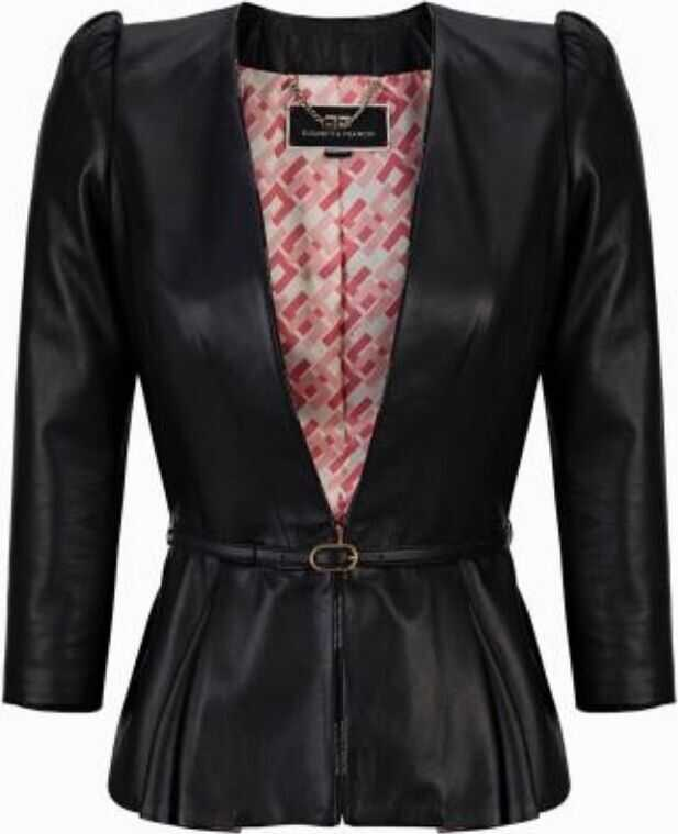 Elisabetta Franchi Leather Outerwear Jacket BLACK