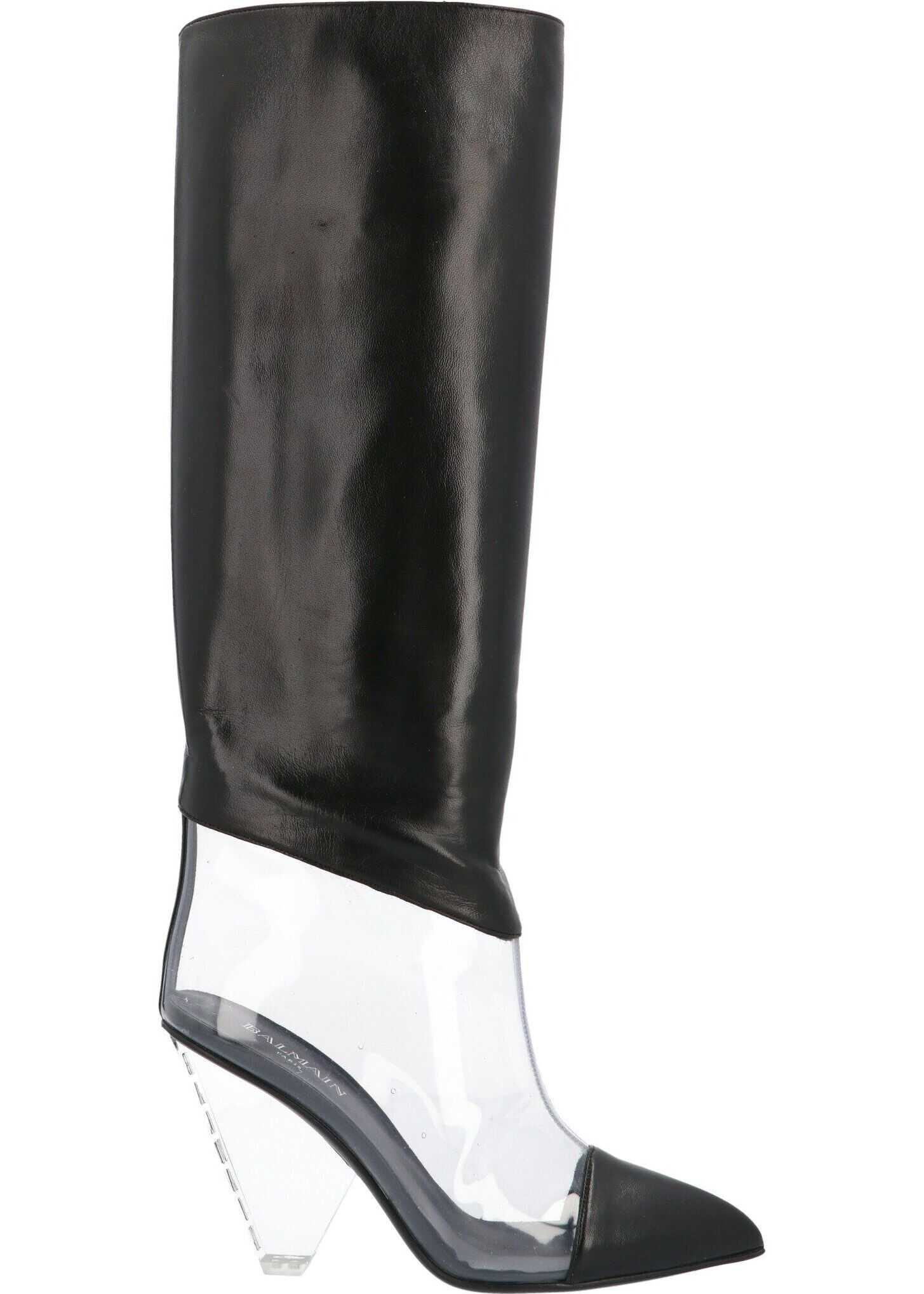 Balmain Leather Boots BLACK
