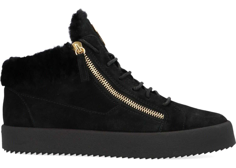 Giuseppe Zanotti Suede Hi Top Sneakers BLACK