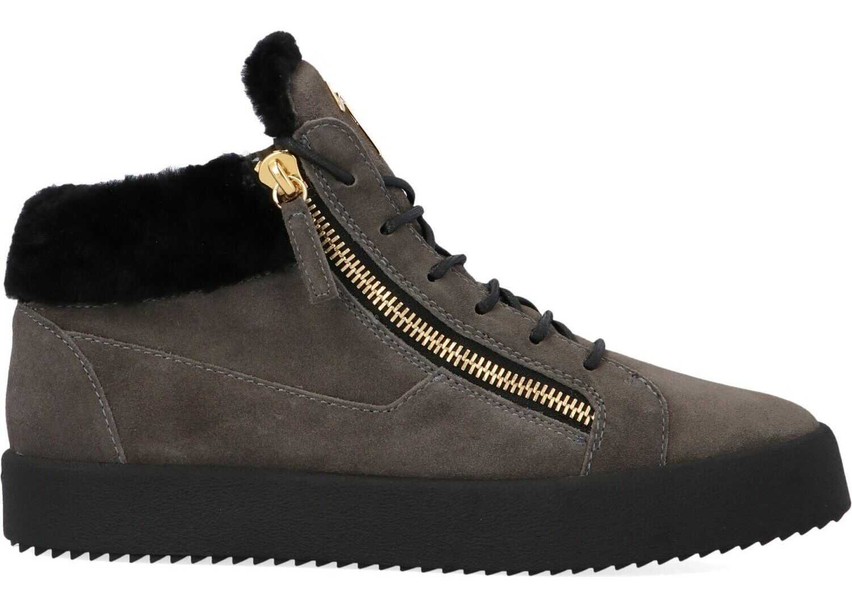 Giuseppe Zanotti Suede Hi Top Sneakers GREY