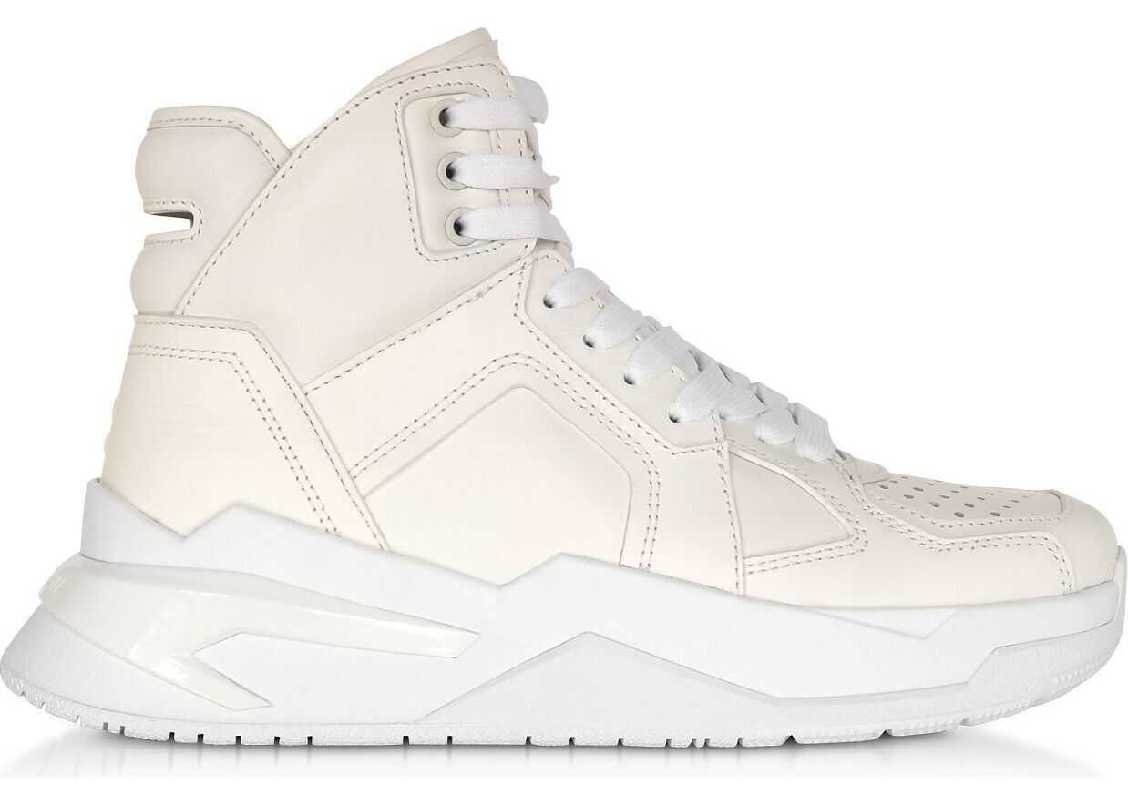 Balmain Leather Hi Top Sneakers WHITE