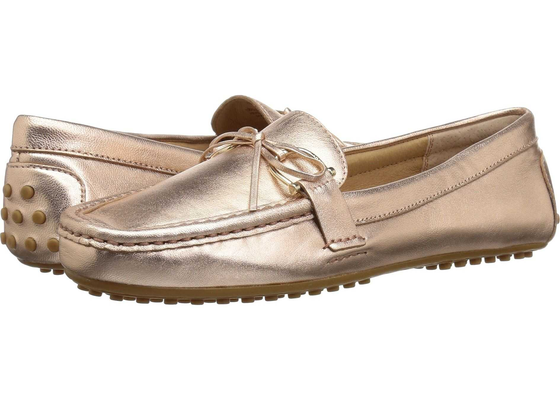 Ralph Lauren Briley Moccasin Loafer Rose Gold Metallic Leather