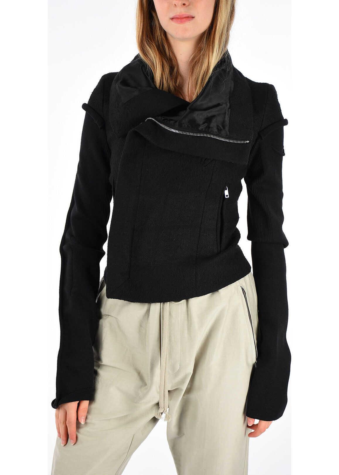 Rick Owens Linen and Camel CLASSIC BIKER Jacket BLACK