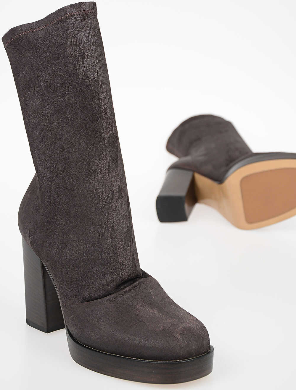 Rick Owens 10cm Leather CHUNKY SOCK Boots RASIN BROWN