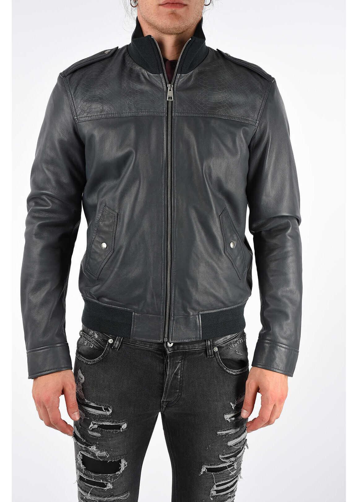 Just Cavalli Leather Bomber GRAY