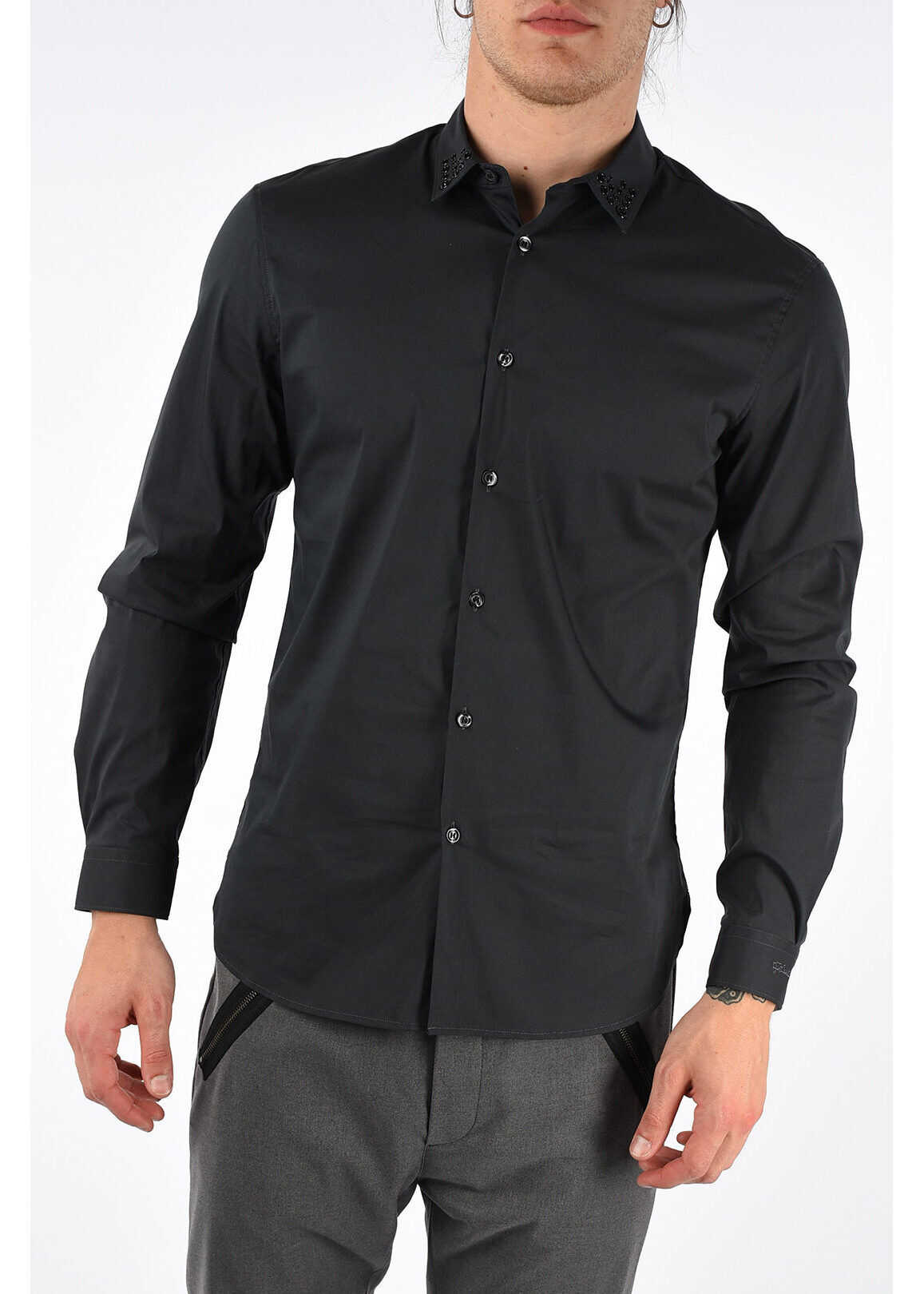 Just Cavalli Stretch Cotton and Nylon Shirt with Studs BLACK