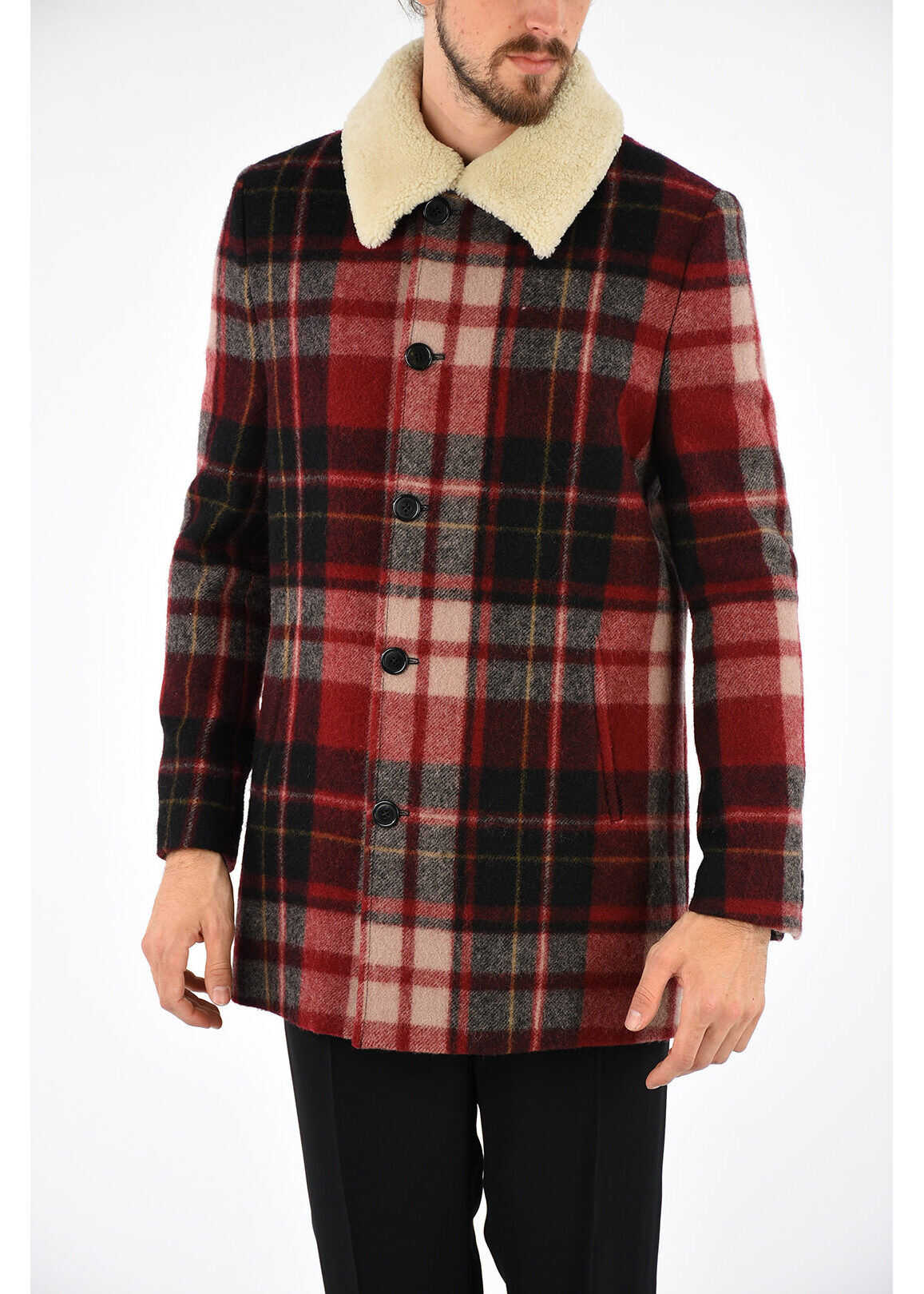 Saint Laurent Wool Checked Coat MULTICOLOR