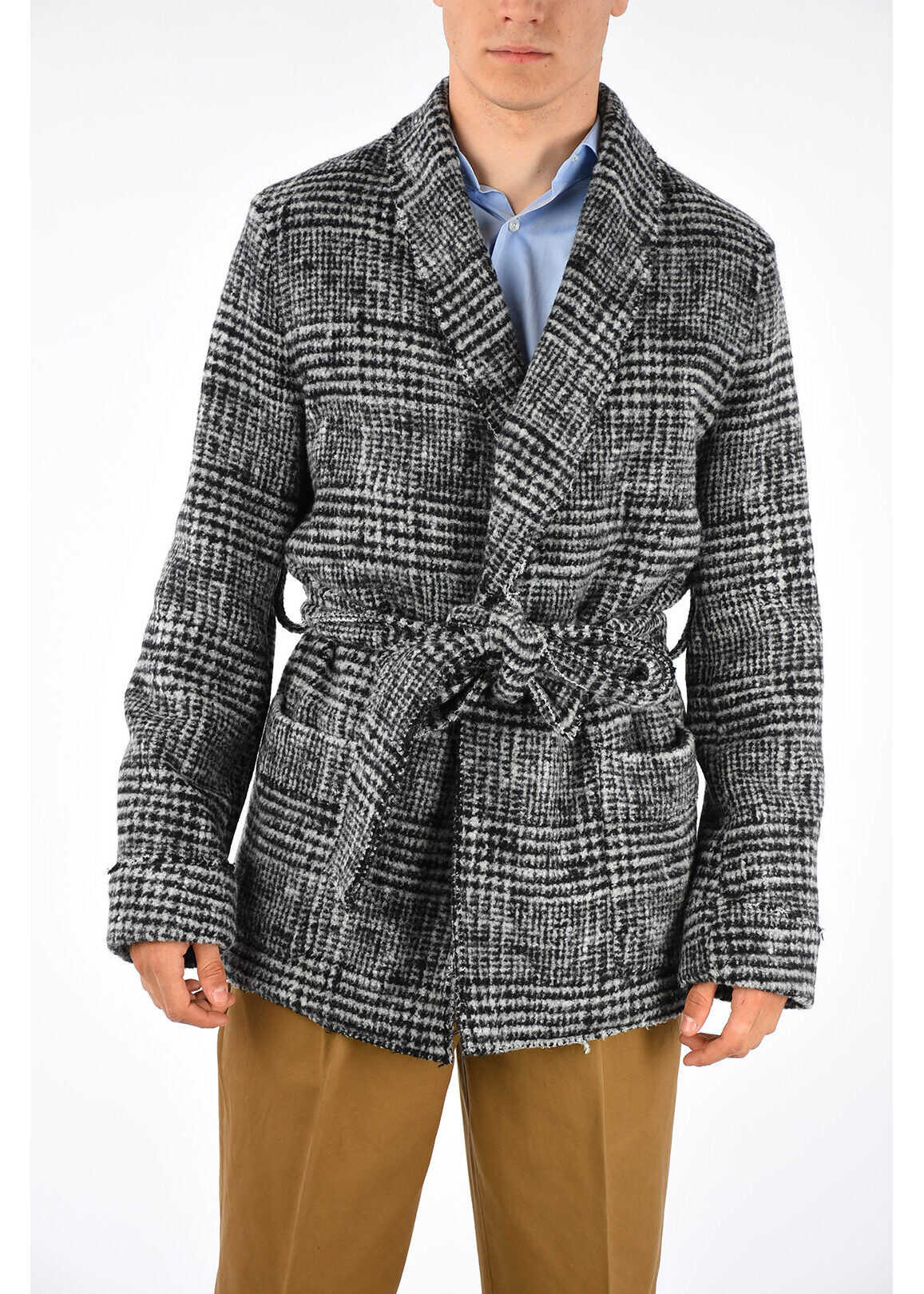 Dolce & Gabbana Wool Blend Coat BLACK & WHITE