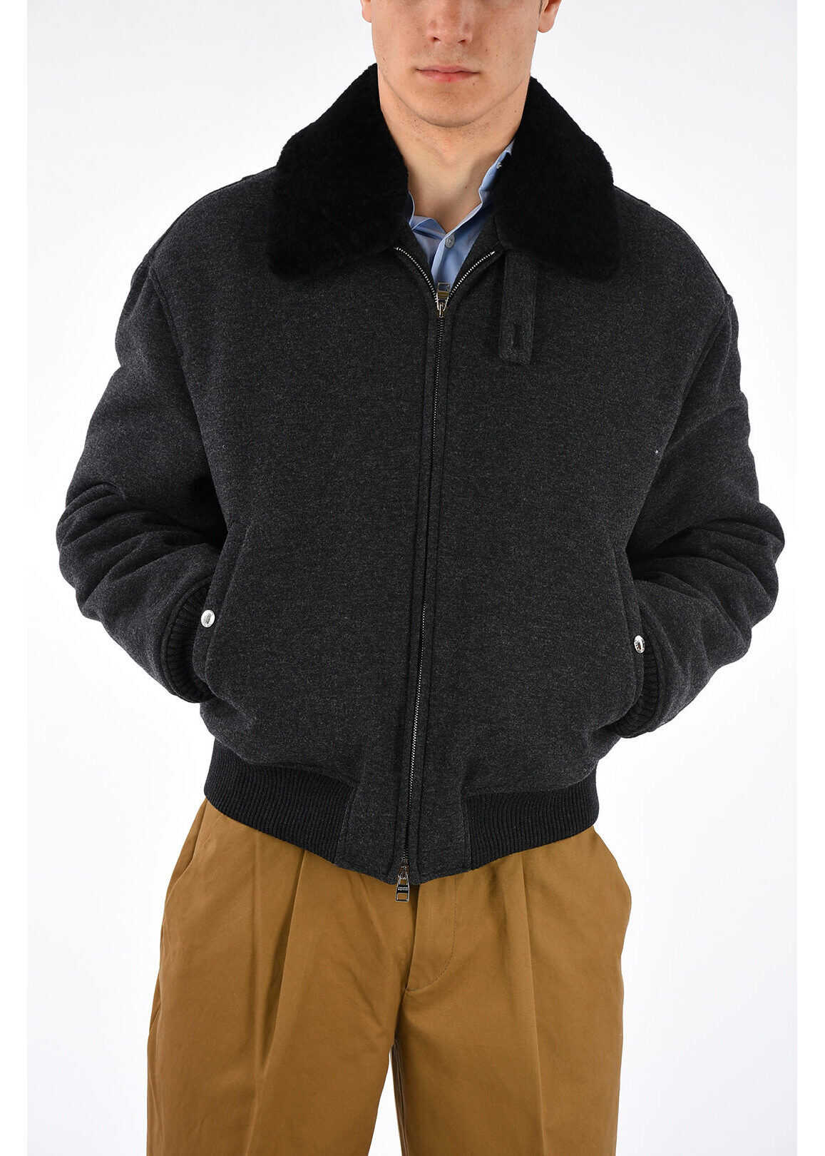 Alexander McQueen Virgin Wool Cashmere blend Bomber With Real Fur GRAY