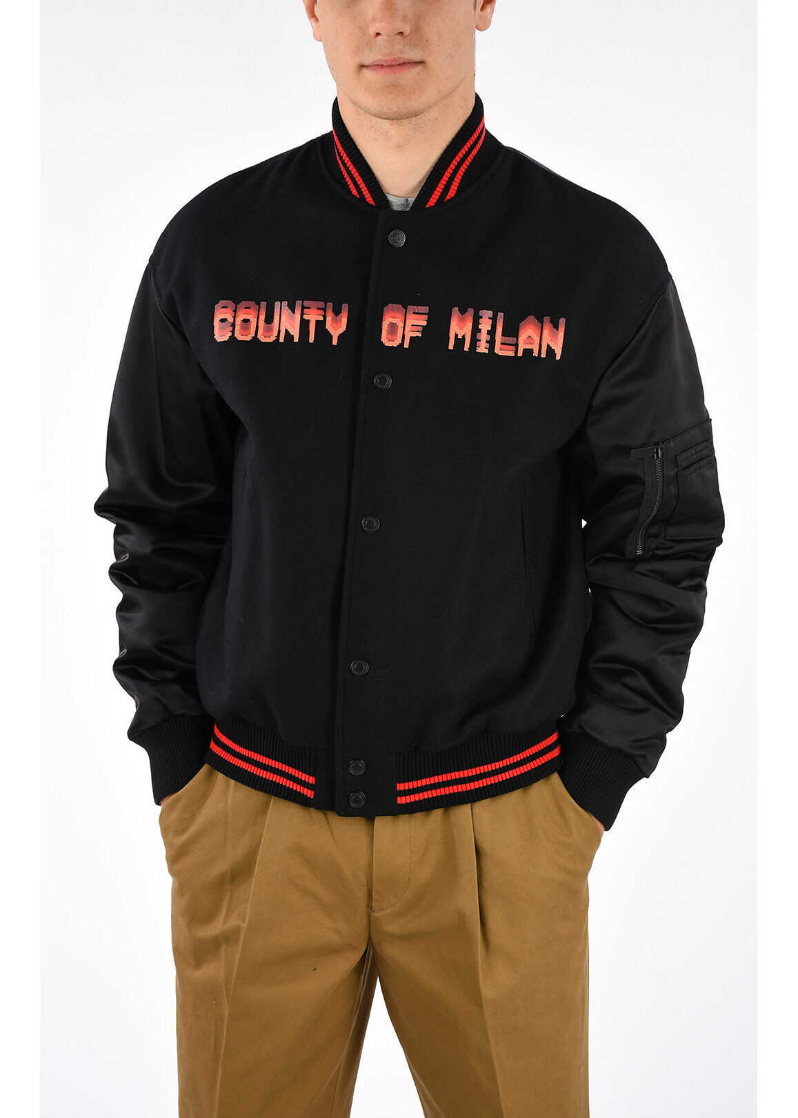 Marcelo Burlon Virgin Wool Blend Bomber BLACK