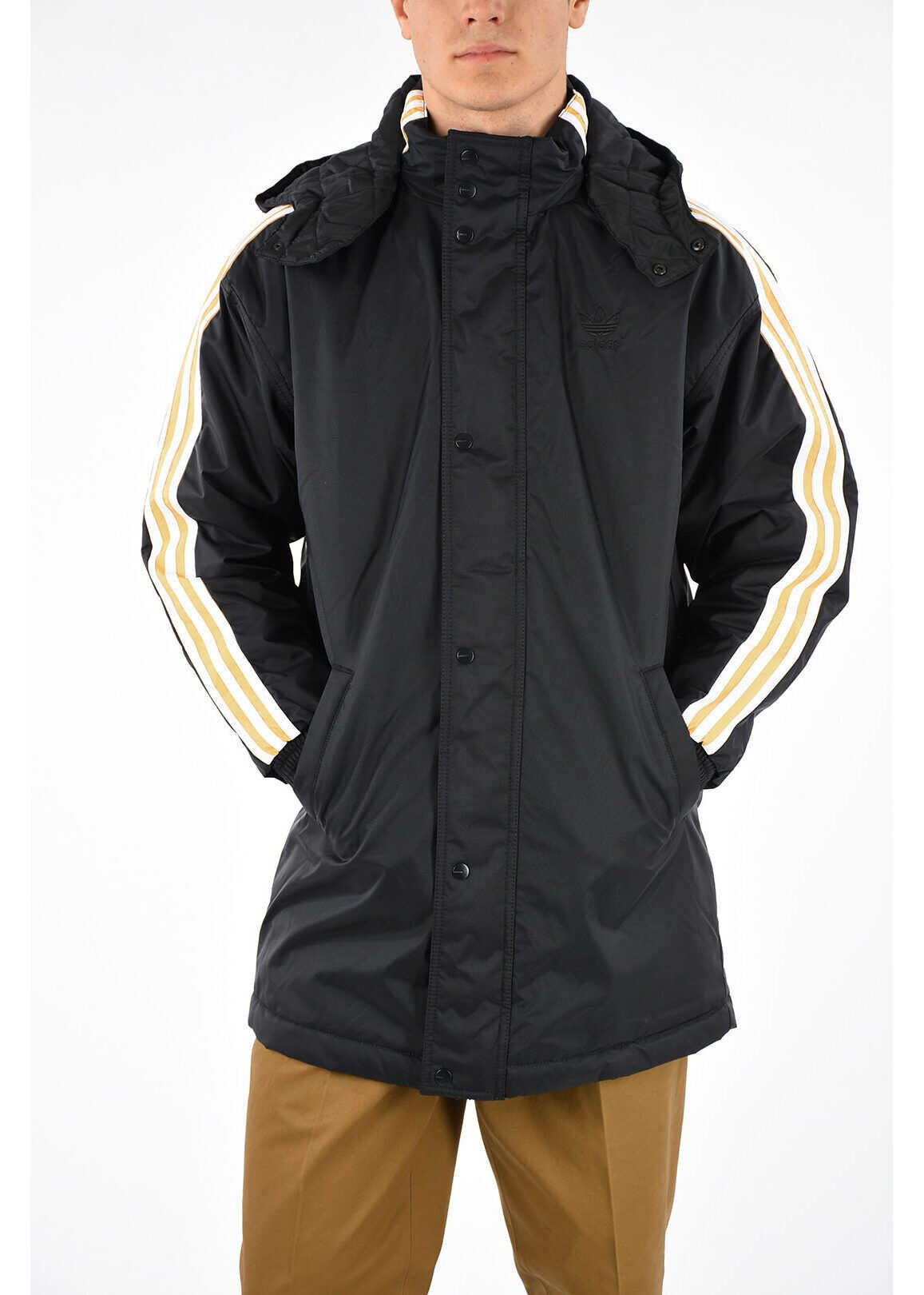 adidas Nylon Hooded STADION Windbreaker Jacket BLACK