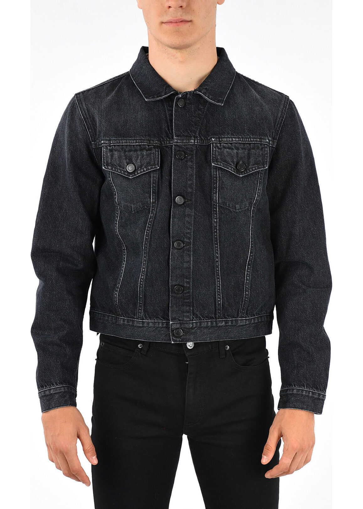 Marcelo Burlon Printed Denim Jacket BLACK