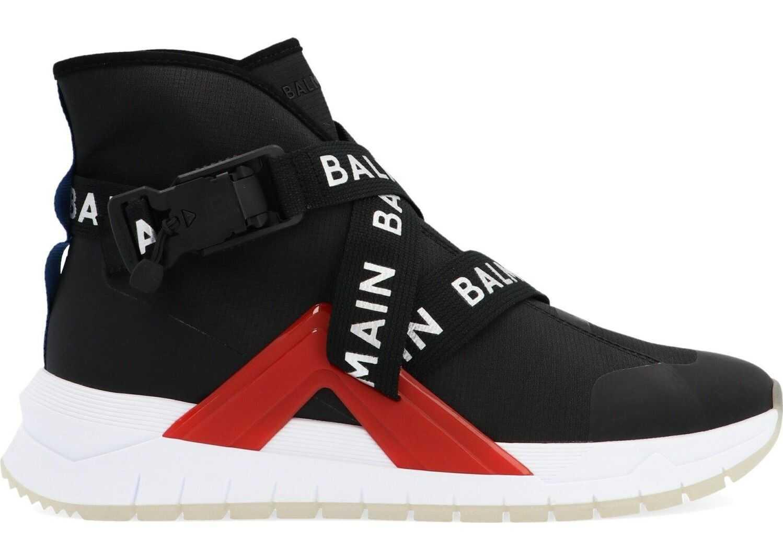 Balmain Synthetic Fibers Hi Top Sneakers BLACK