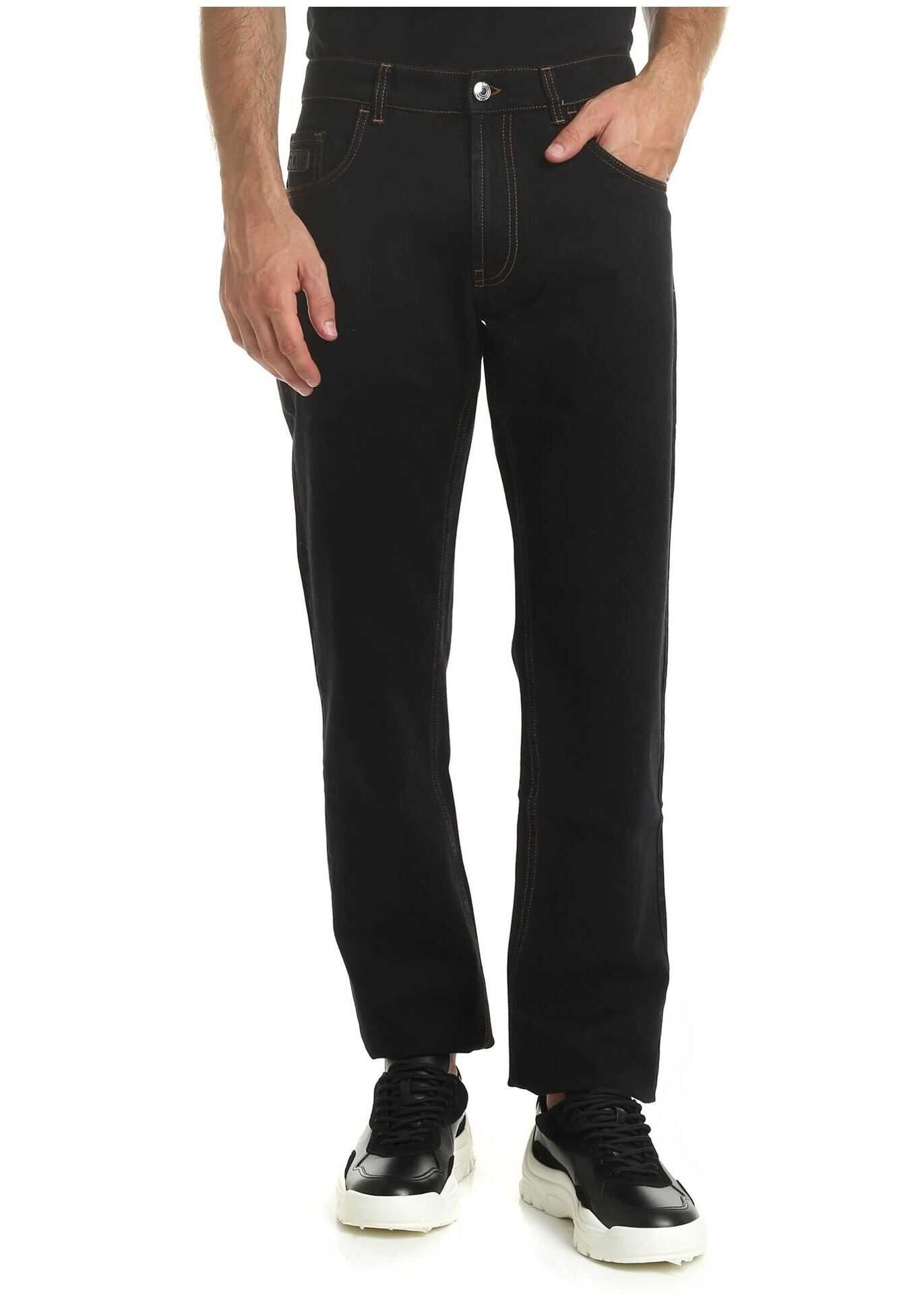 GCDS Black Jeans With Contrasting Stitching Black imagine