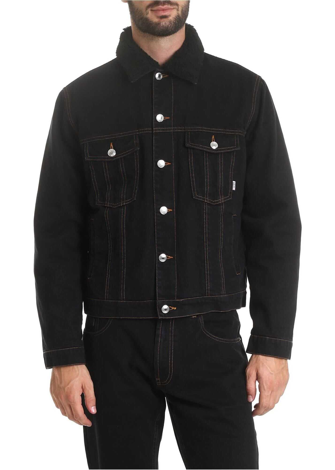 GCDS Black Denim Jacket With Fleece Lining Black imagine