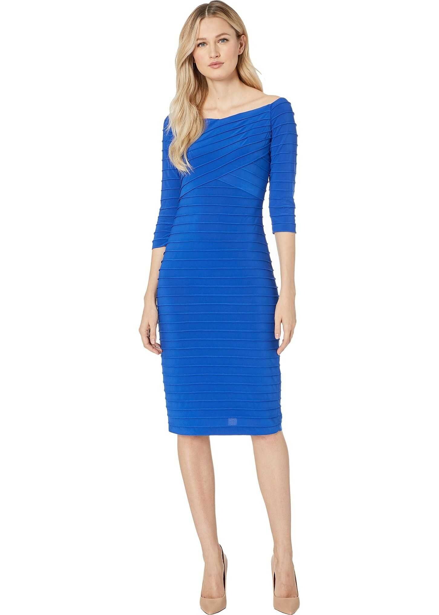 Adrianna Papell Banded Pintuck Dress Moroccan Blue