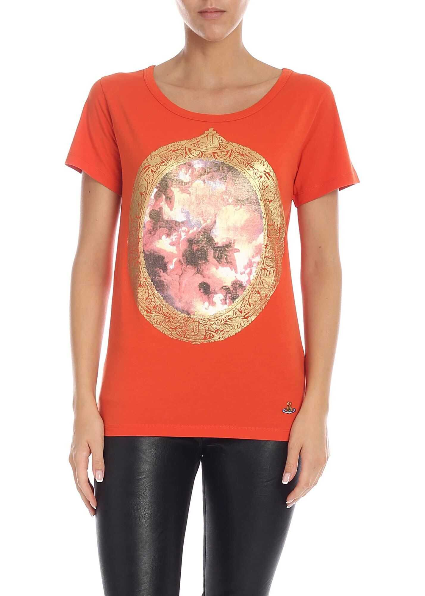 Vivienne Westwood Crackle Effect Print T-Shirt In Orange Orange